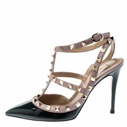 Valentino Black And Beige Leather Rockstud Sandals Size 36