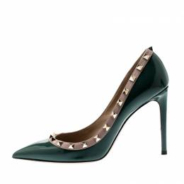 Valentino Green Patent Leather Rockstud Leather Pumps Size 39