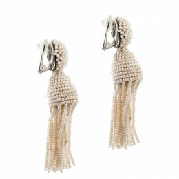 Oscar De La Renta Cream Faux Pearl Beaded Clip-on Long Tassel Earrings 204886
