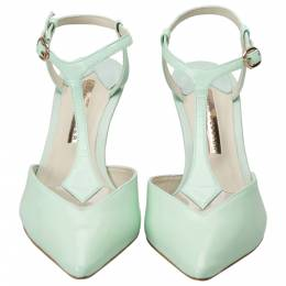 Sophia Webster Green Patent Leather Spearmint T Strap Pointed Toe Sandals Size 37