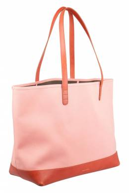 Mansur Gavriel Blush Pink/Brown and Moss Green Canvas and Leather Tote 203397