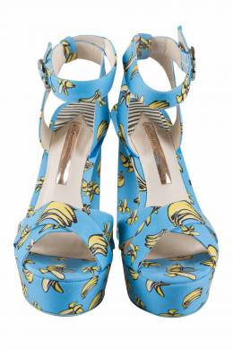 Sophia Webster Blue Banana Printed Fabric Amanda Ankle Strap Platform Sandals Size 37.5