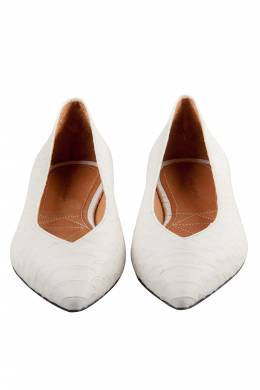Isabel Marant White Python Embossed Leather Plumy Pointed Toe Ballet Flats Size 39