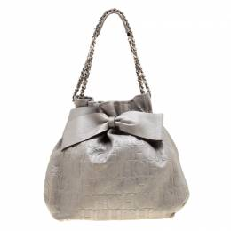 Carolina Herrera Silver Monogram Embossed Leather Bow Bucket Shoulder Bag