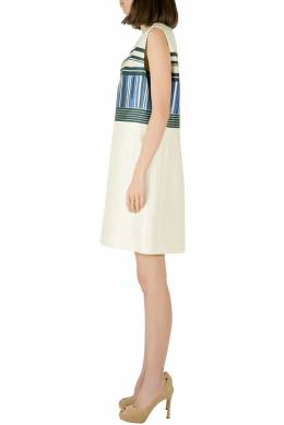 Tory Burch Indigo Plaited Engineered Stripe Cotton Silk Mikado Dress S