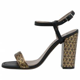 Lanvin Black/Gold Fabric and Leather Ankle Strap Block Heel Sandals Size 38