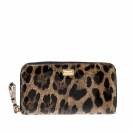 Dolce&Gabbana Leopard Print Patent Leather Zip Around Wallet 206229