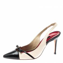 Carolina Herrera Black And Beige Leather Bow Pointed Toe Slingback Pumps Size 38