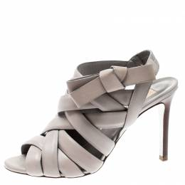 Valentino Grey Leather Peep Toe Strappy Open Toe Sandals Size 37