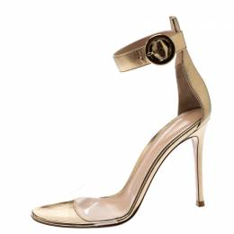 Gianvito Rossi Metallic Gold Leather And PVC Stella Ankle Strap Sandals Size 38