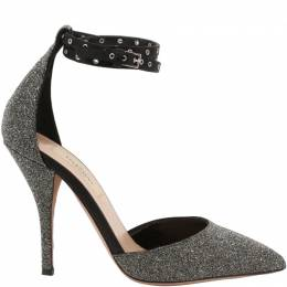 Valentino Grey Glitter Ankle Strap Pointed Toe Sandals Size 36