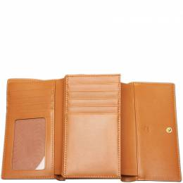 MCM Brown Visetos Leather Small Wallet 172365
