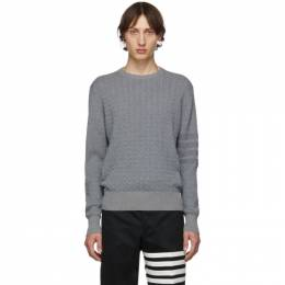 Thom Browne Grey Baby Cable Knit Crewneck Sweater 192381M20100902GB