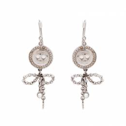 Dior Bow Button Crystal Silver Tone Dangle Hook Earrings 206022