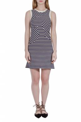 Derek Lam Navy Blue Striped Cotton Paneled Sleeveless Sheath Dress S 206218
