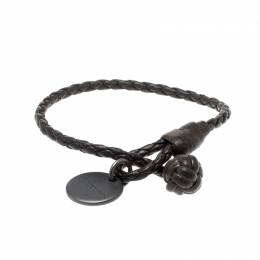 Bottega Veneta Grey Intrecciato Nappa Leather Woven Slim Bracelet