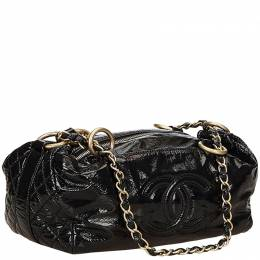 Chanel Black Quilted Patent Leather CC Satchel Bag
