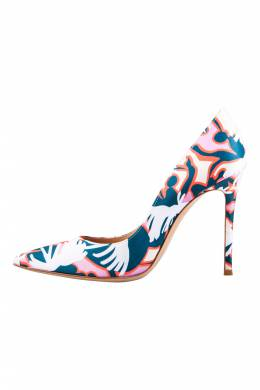 Gianvito Rossi Multicolor Printed Satin Pointed Toe Pumps Size 39 205968