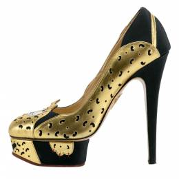 Charlotte Olympia Black/Gold Leather Ninivah Leopard Platform Pumps Size 38 204636
