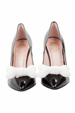 Moschino Black Patent Leather Bone Bow Pointed Toe Pumps Size 37 205316