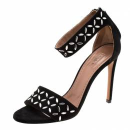 Alaia Black Suede Studded Ankle Strap Sandals Size 36 206498