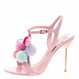 Sophia Webster Pink Leather Layla Pom Pom Embellished T-Strap Sandals Size 39.5