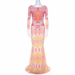 Roberto Cavalli Pink and Yellow Floral Print Ruched Bodice Maxi Dress S