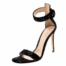 Gianvito Rossi Black Floral Embroidered Velvet Portofino Ankle Strap Sandals Size 40