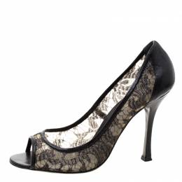 Sergio Rossi Black Lace And Leather Peep Toe Pumps Size 41 206865