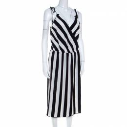 Marc Jacobs Monochrome Striped Crepe Faux Wrap Midi Dress M