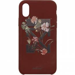 Off-White Burgundy Flowers iPhone X Case 192607F03201501GB