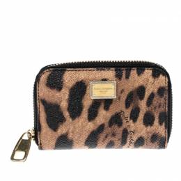 Dolce&Gabbana Leopard Print Coated Canvas Zip Around Compact Wallet 206502