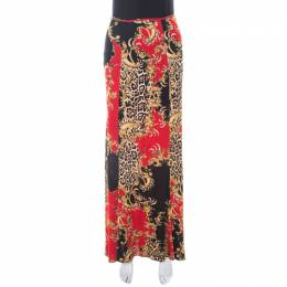 Just Cavalli Red and Black Baroque Print Paneled Maxi Skirt M