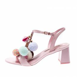 Sophia Webster Pale Pink Patent Leather Jada T Strap Pom Pom Sandals Size 38