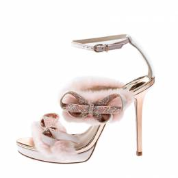 Sophia Webster Pink Faux Fur And Leather Bella Bow Embellished Ankle Strap Sandals Size 37.5