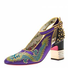 Gucci Purple Satin And Black Patent Leather Caspar Dragon Embroidered Spike Detail Pumps Size 37