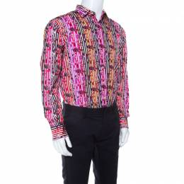 Etro Multicolor Fish Print Striped Cotton Long Sleeve Button Front Shirt S 207090