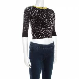 Gucci Black and White Cashmere Printed Cropped Cardigan XS 206932