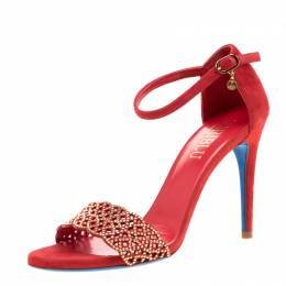 Loriblu Red Suede Studded Cut Out Ankle Strap Sandals Size 37.5 206933