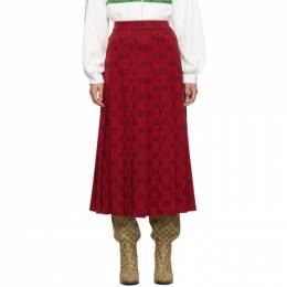 Gucci Red Pleated GG Skirt