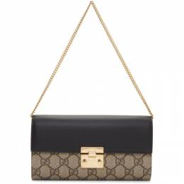 Gucci Beige and Black Padlock GG Wallet Bag
