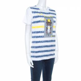 Gianfranco Ferre Striped Cotton Printed Crew Neck T Shirt M 207263