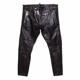 Dsquared2 Black Calf Leather Ribbed Panel Detail Tapered Trousers L 206548