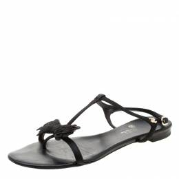 Chanel Black Satin Bow Thong Ankle Strap Flat Sandals Size 40 208160