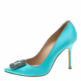 Manolo Blahnik Tiffany Blue Satin Hangisi Crystal Embellished Pumps Size 39 207887