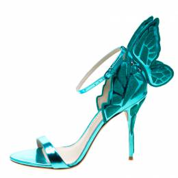 Sophia Webster Metallic Two Tone Leather Chiara Butterfly Wing Open Toe Sandals Size 41