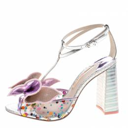 Sophia Webster Multicolor Metallic Leather And PVC Lana Crystal Embellished Block Heel Sandals Size 42