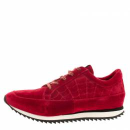 Charlotte Olympia Red Velvet Work It Web Sneakers Size 40 134407
