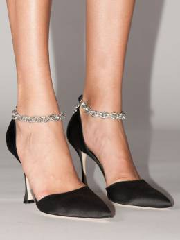 105mm Anclara Chained Satin Pumps Manolo Blahnik 70IXDM002-MDAxNQ2