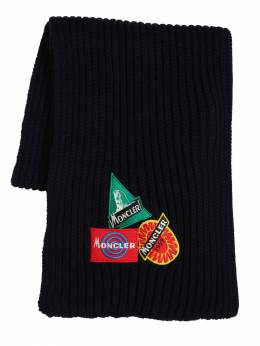 Wool Knit Scarf W/ Patches Moncler 70IIKM096-Nzc40